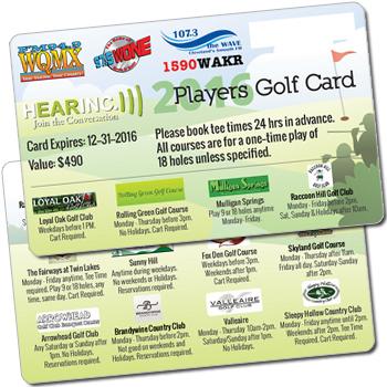 2016 HEARINC Players Golf Card